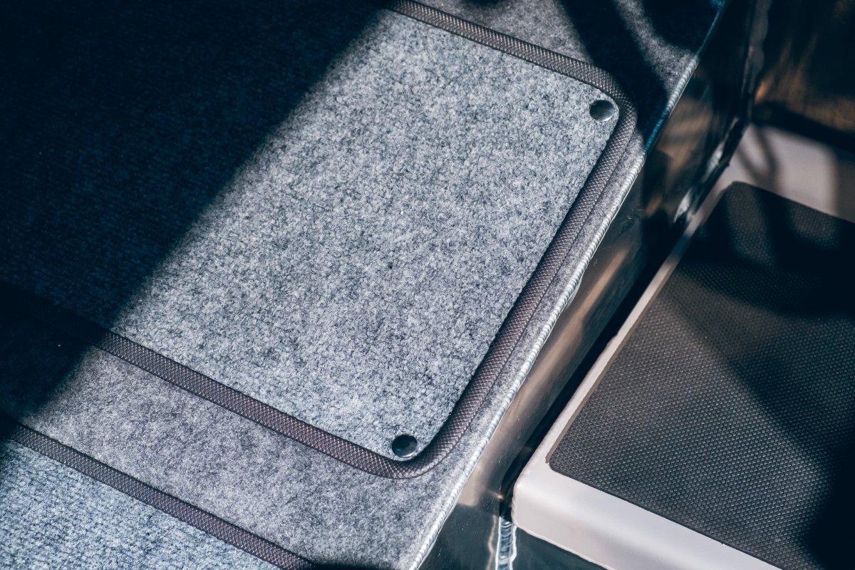 Carpet removable flooring inside the cabin